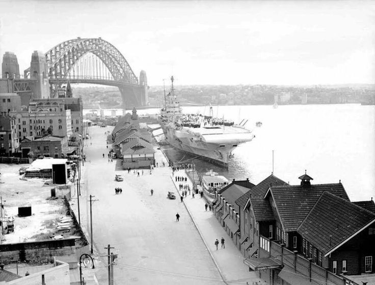 HMS Formidable berthed at the Circular Quay, Sydney, Australia, circa Jan 1945. ww2dbase State Records NSW