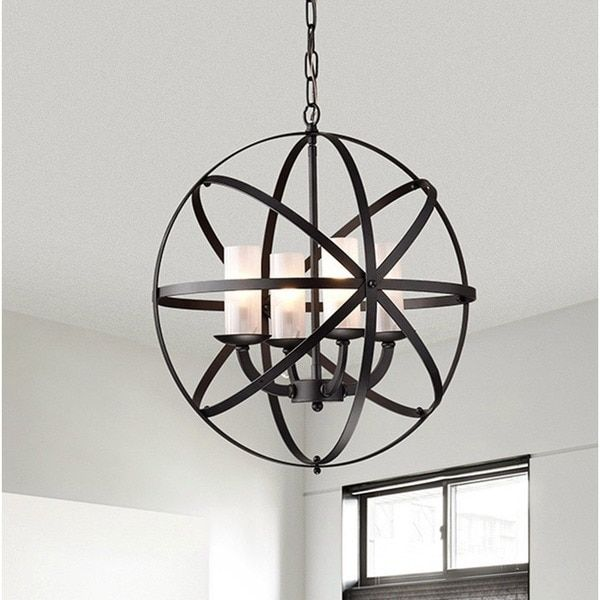 Mandisa 4-light Black-finish 18-inch Chandelier