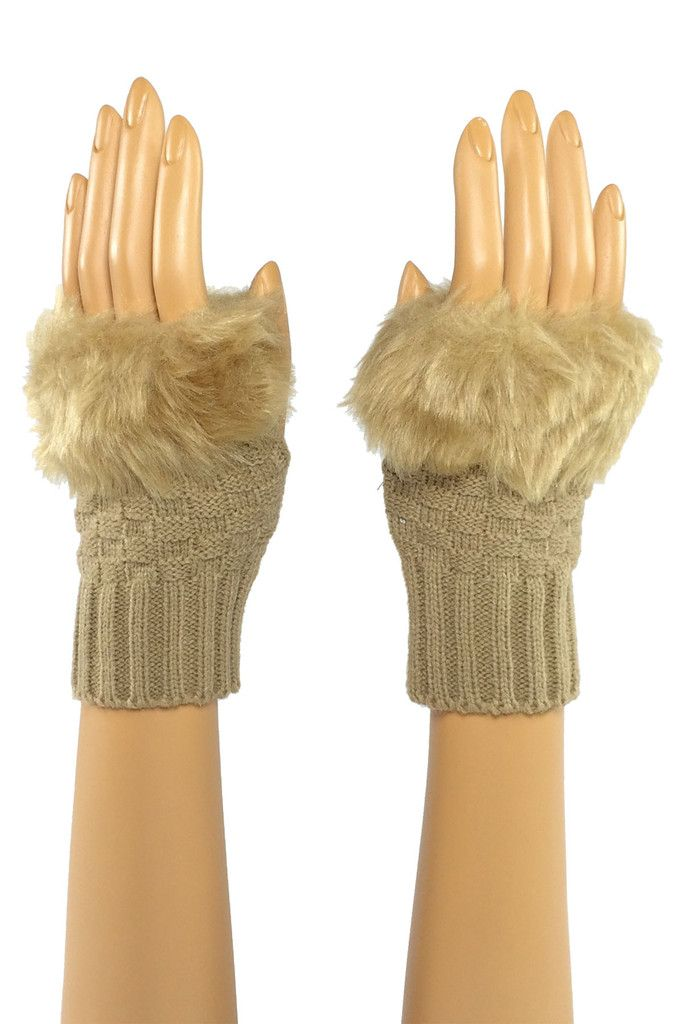 Beige Wrist Length Faux Fur Fingerless Gloves Stroke me, stroke me! Or so the song goes... And yes, the faux fur on these pups is as soft as it looks. Perfect for brushing that snowflake from your cheek when the rest of your world is making you chapped and raw. #fingerless #fashion #crochet