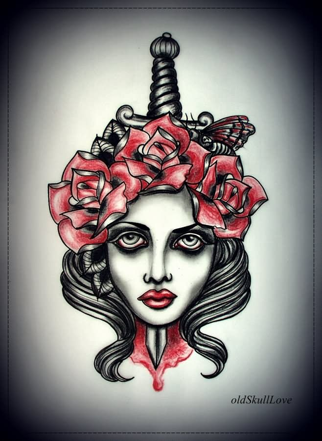 Black And Red Dagger In Girl Face Tattoo Design By MWeiss