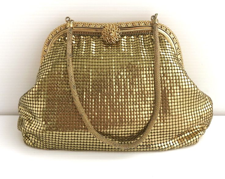 Vintage gold mesh bag with elaborate gold metal filigree frame and filigree flower clasp, gold mesh handle, Glomesh brand, Australia by CardCurios on Etsy