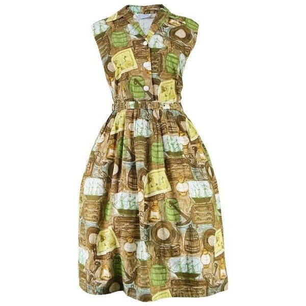 Preowned Vintage 1950s Novelty Print Nautical Theme Brown & Green... ($196) ❤ liked on Polyvore featuring dresses, casual dresses, green, green cocktail dress, green summer dress, green vintage dress, summer cocktail dresses and sleeveless summer dresses