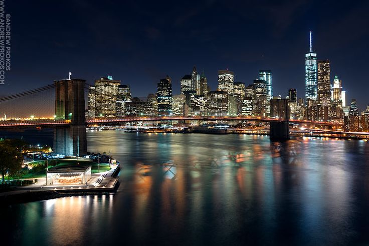 View of the Brooklyn Bridge and Lower Manhattan at Night - Photographer Andrew Prokos