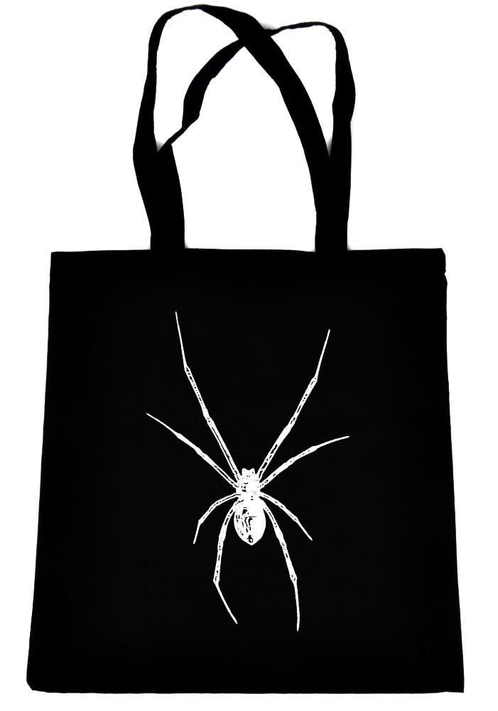 Black Widow Spider Tote Book Bag White Print Gothic Horror Handbag  #rock #occult #cybergirl #kawaii #rivethead #psychobilly #darkwave #punkrock #psychobillygirl #punkclothing