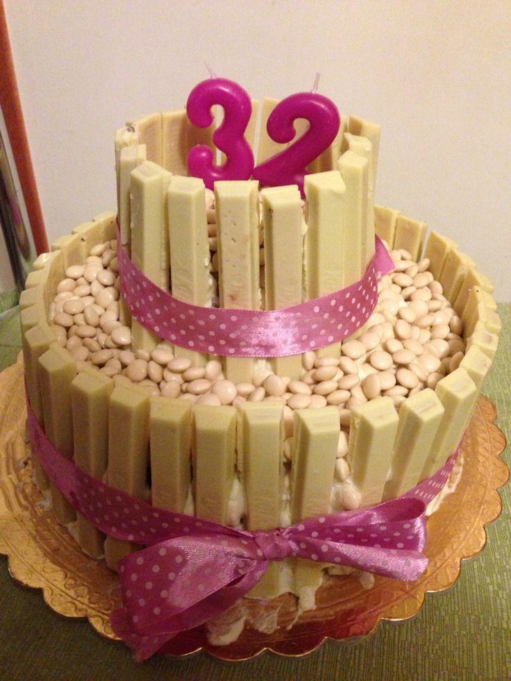 #cake#kitkat#white#birthday#compleanno#torta#cioccolato#rosa#pink#ideas