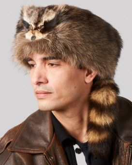 Raccoon Fur Coonskin Cap with Face