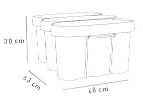 Les dimensions des corbeilles de collecte des déchets Selectibox Tertio, pour 3 * 13 litres de contenance. http://www.selectibox.com