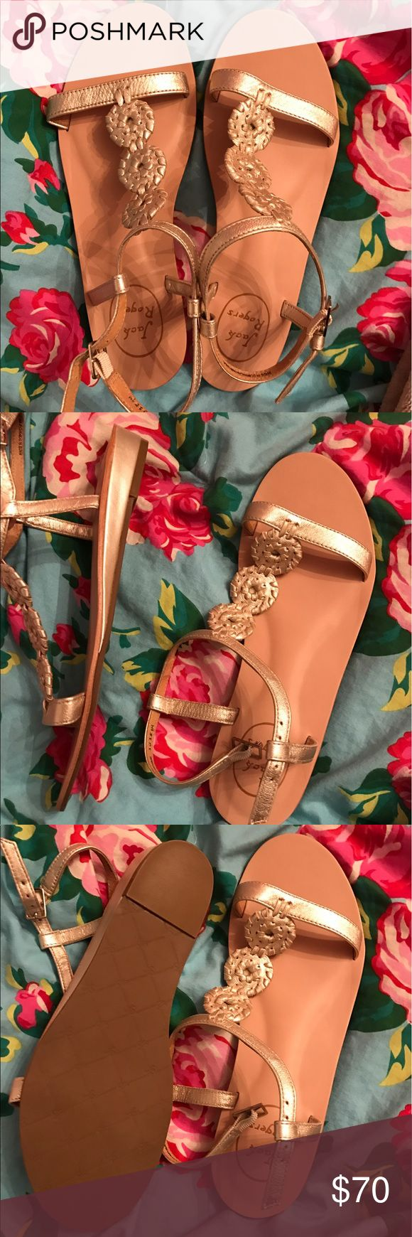 New Jack Rogers Sandals These are super cute Jack Rogers gold sandals! They are marked as a size 8, but they were incorrectly sized. They are actually a size 7. These have never been worn and are so adorable! They are new without tags or box! Jack Rogers Shoes Sandals