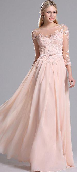 eDressit Pink Illusion Neckline Floral Evening Dress