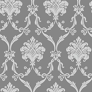 Ohh, this is lovely too... decisions decisions! SILVER AND GREY DAMASK/Gray Damask Wallpaper
