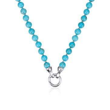 NECKLET KAGI TURQUOISE PETITE TURQUOISE BEADS , 5 MICRON SILVER PLATED 316L SURGICAL STAINLESS STEEL SPACERS AND O RING CLASP 80CM - Jons Family Jewellers
