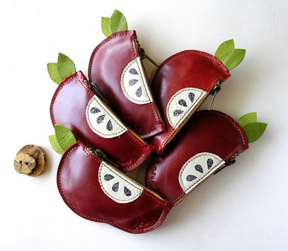 Leather Coin or Key Case  Rustic  Red Apple  One by TheFigLeaf, $19.95