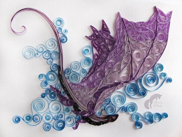 Paper quilled dragon. More