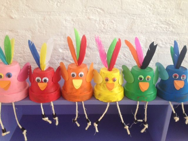 Bij kinderdagverblijf triade knutselden de kinderen deze leuke vogels. Gemaakt van kleine terracotta potjes, veren en papier. Pasen/lente.