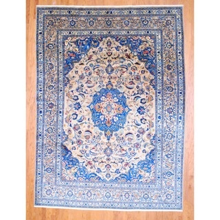 @Overstock.com - With a distinctive style, a gorgeous area rug from Iran will add some splendor to any decor. This Mashad area rug is hand-knotted with a floral pattern in shades of beige, blue, ivory, navy and rust.http://www.overstock.com/Worldstock-Fair-Trade/Persian-Hand-knotted-Mashad-Beige-Blue-Wool-Rug-82-x-11/7495309/product.html?CID=214117 $1,579.99