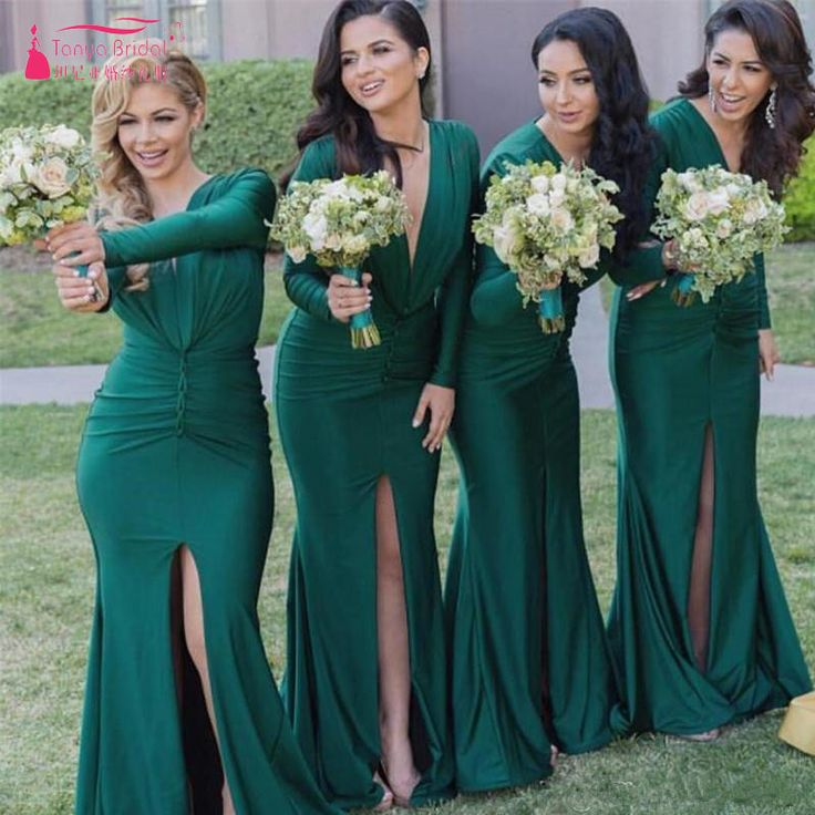 Find More Bridesmaid Dresses Information about Green Long Sleeve Mermaid Bridesmaid Dress Sexy V Neck Long Wedding Guest Dresses Side Split Elegant Dresses Wedding Wear  Z658,High Quality wear cosmetics,China wear v neck sweater men Suppliers, Cheap wear coral from Tanya Bridal Store on Aliexpress.com