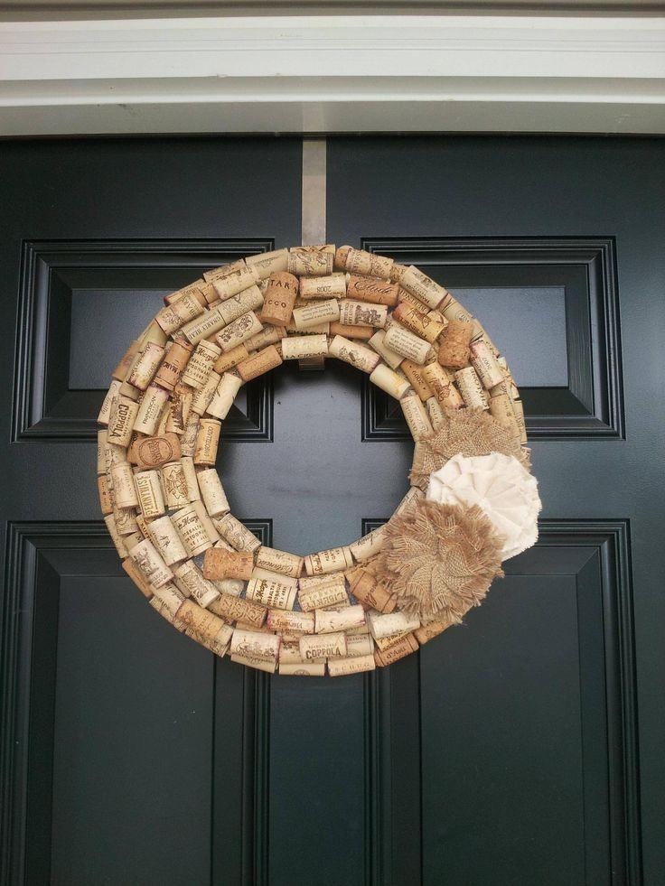 Wine cork wreath with burlap flower.
