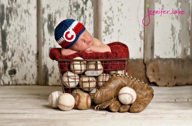 Chicago Cubs Hat Blue, Red, White Beanie.  Newborn thru 6 months size available. $22.00, via Etsy.
