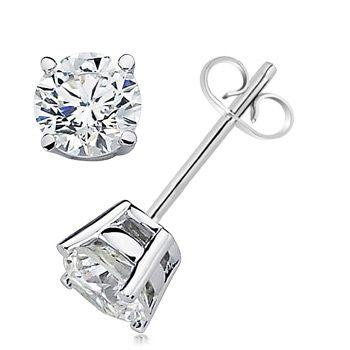 Angara V-Prong Princess Diamond Basket Stud Earrings sV4lV