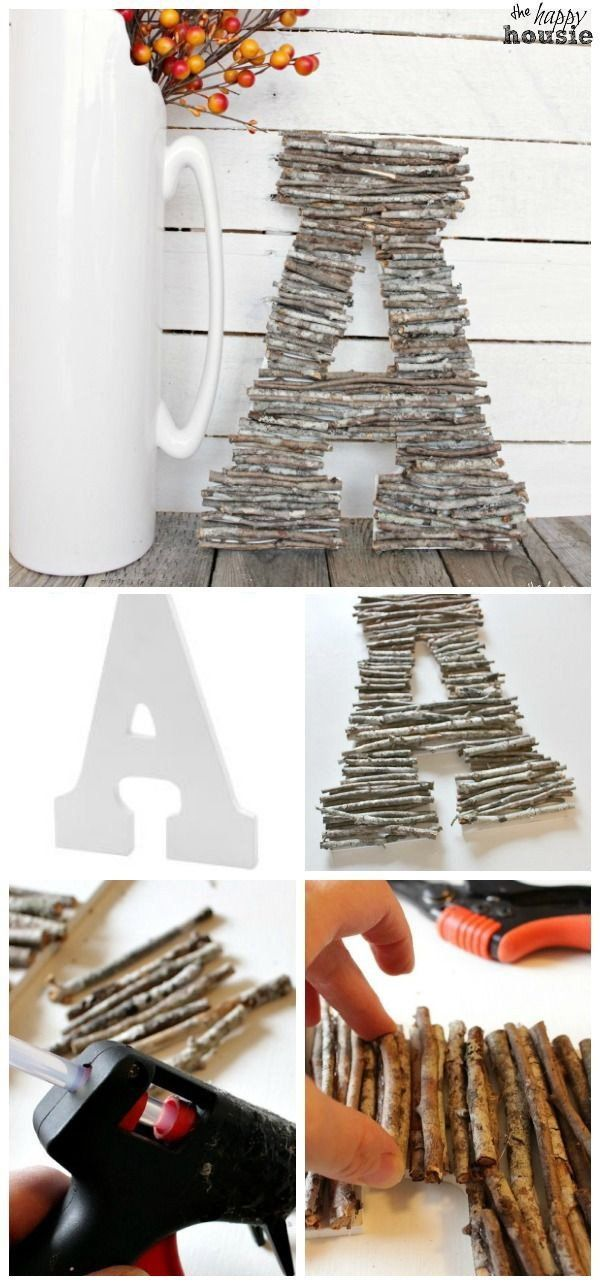 DIY Decorative Letters With Twigs. Super quick and easy project that you can make for your decor! Looks great on your fall mantel and add a touch of rustic warm! More
