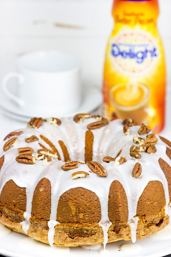 Topped with a toasted pecans and a delicious glaze, this Butter Pecan Pound Cake is the perfect sweet treat for a cool Autumn evening! #IDelight