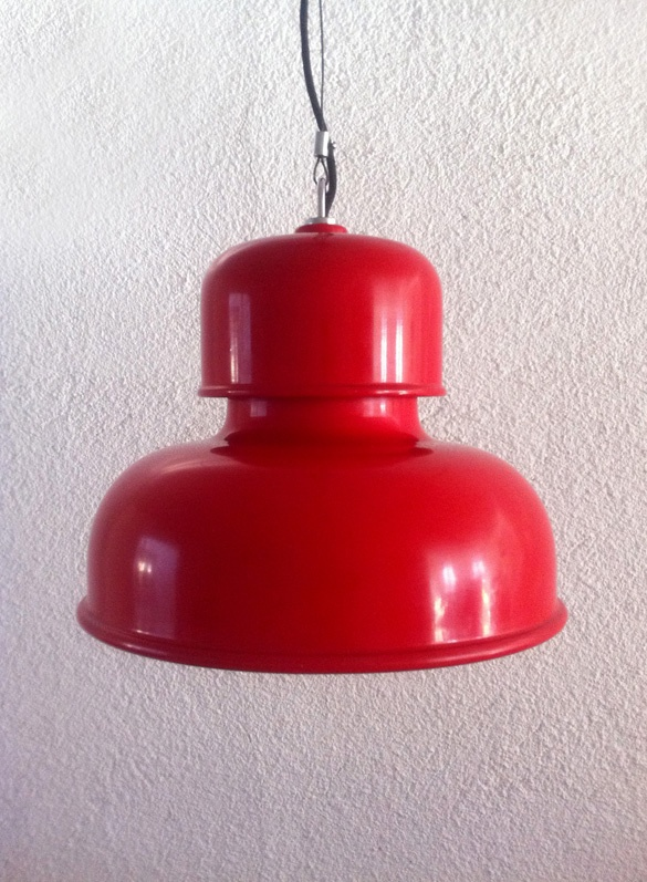 red metal lamp