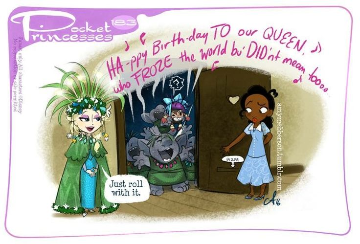 (183) Elsa [feat. the Trolls] & Tiana [feat. a coconut pirate] (Drawing by PocketPrincesses @Facebook) #Frozen #ThePrincessAndTheFrog #Moana