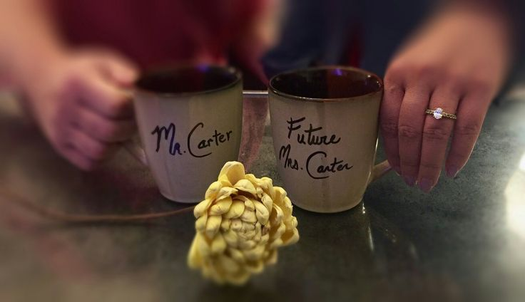 Engagement announcement.  I used a Sharpie pen on the mugs.  The photo was from an iPhone6 and used an app called TADAA for the blurring soft effect.