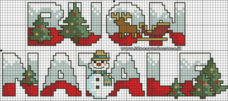 schema punto croce scritta Buon Natale