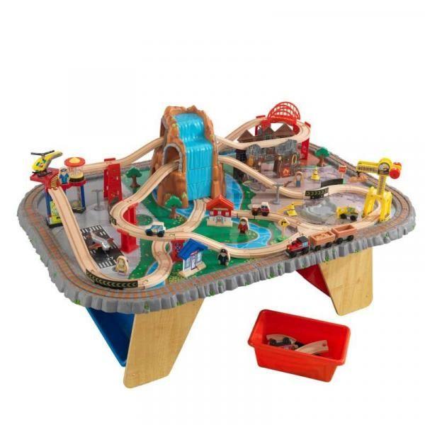 Derevyannaya Zheleznaya Doroga Kidkraft Razvyazka Vozle Vodopada 17498 Kupit Po Dostupnoj Cene Pampik Toy Train Toy Trains Storage Model Train Table