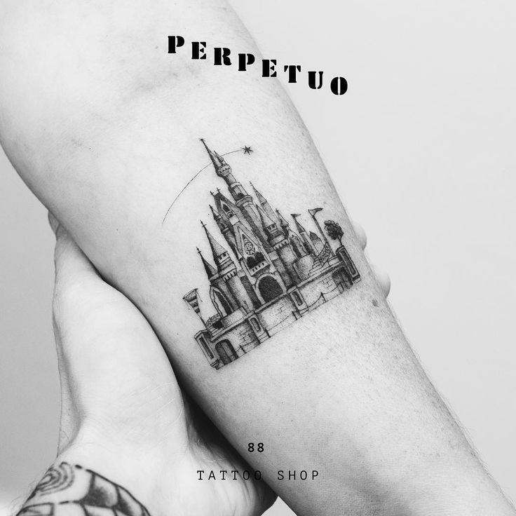 awesome tiny Cinderella Castle tattoo see this instagram: @perpetuotattoo