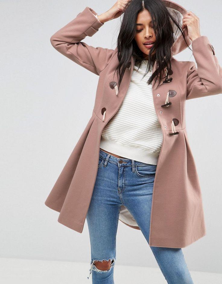 ASOS Skirted Duffle Coat - Pink