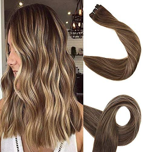 Best Seller Full Shine 22 inch Ombre Balayage Remy Human Hair Bundles Sew Hair Weft Color #4 Medium Brown Fading #24 Light Blonde #4 Medium Brown Balayage Sew Hair Weft online