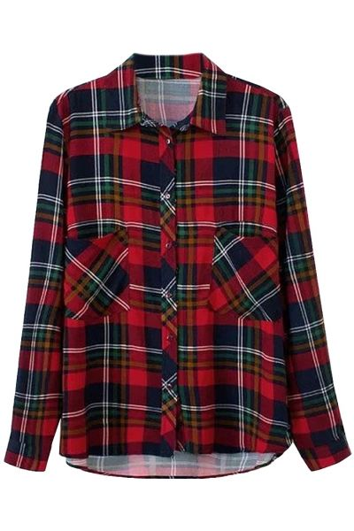 Classic Scottish #Plaid #Red #Blouse - OASAP.com