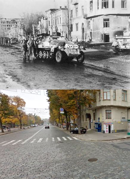 Then and Now WWII: Sumska Street, Kharkiv, Ukraine, during Third Battle of Kharkov - February to March, 1943.
