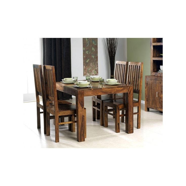 4 Seater Legno di sheesham Set da pranzo DSS-113106 X 45 X 76 CM | Arts of India – Italy