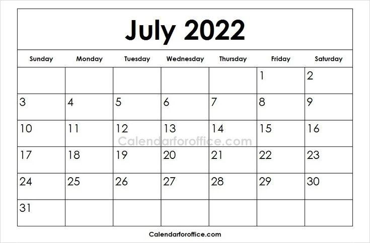 Printable 2022 July Calendar Designs Calendar Printables February Calendar Excel Calendar Template