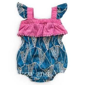 Miki Miette|Miki Miette Spring 2018|Baby Girls Playsuits|Infant Girls Onesies| #cute #babies #baby #babygirls #rompers #romper #playsuit #clothing #clothes #children #kids #style #fashion #trendy #spring2018 #blue #pink #ethnic #ronesies #onesie #pompom #unique