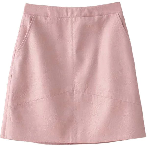 Pink High Waist Leather Look A-line Skirt (93.630 COP) ❤ liked on Polyvore featuring skirts, high rise skirts, zipper skirt, high-waisted skirts, leather look skirt and knee length a line skirt