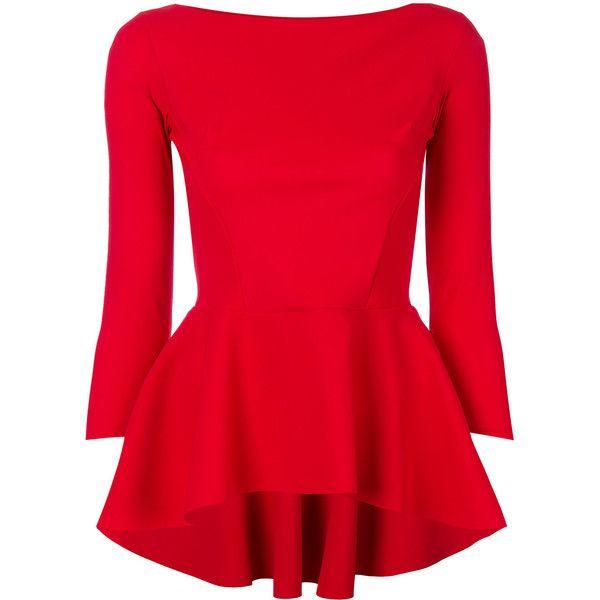 Chiara Boni La Petite Robe peplum blouse ($575) ❤ liked on Polyvore featuring tops, blouses, red, lycra top, red peplum blouse, red blouse, red top and la petite robe di chiara boni