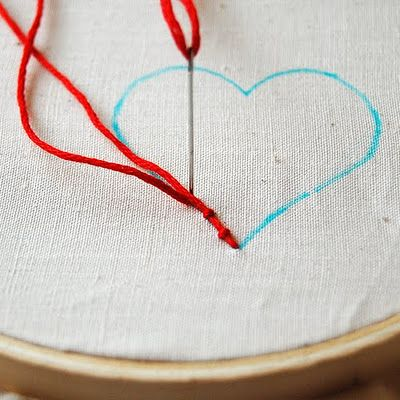 Couching:  Couching is basically using one thread the sew another thread into place, so to do it you will need two lengths of thread
