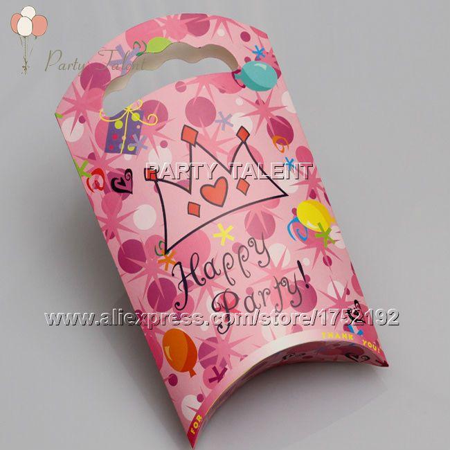 Ну вечеринку поставляет 10 шт. девушка принцесса розовый тема ну вечеринку, день рождения ну вечеринку украшения бумага подарок мешок розовый корона мультфильм шаблон