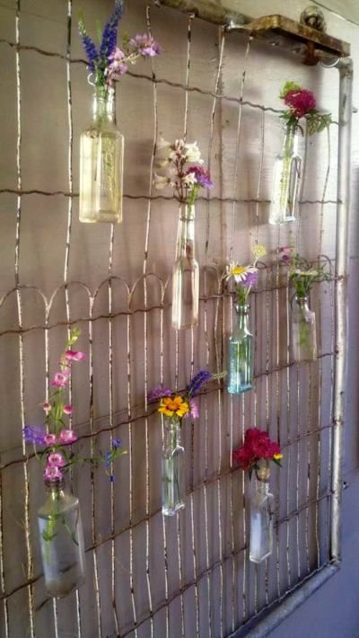 Create a garden background for your Flea Market finds -  Christy Thomas wire gate