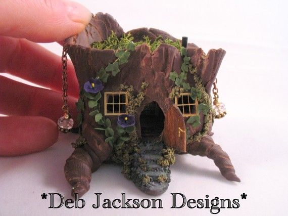 tree stump house made from polymer clay
