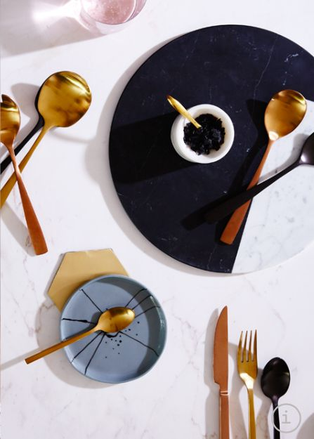 Brass + Copper cutlery by space to create as seen in Real Living.
