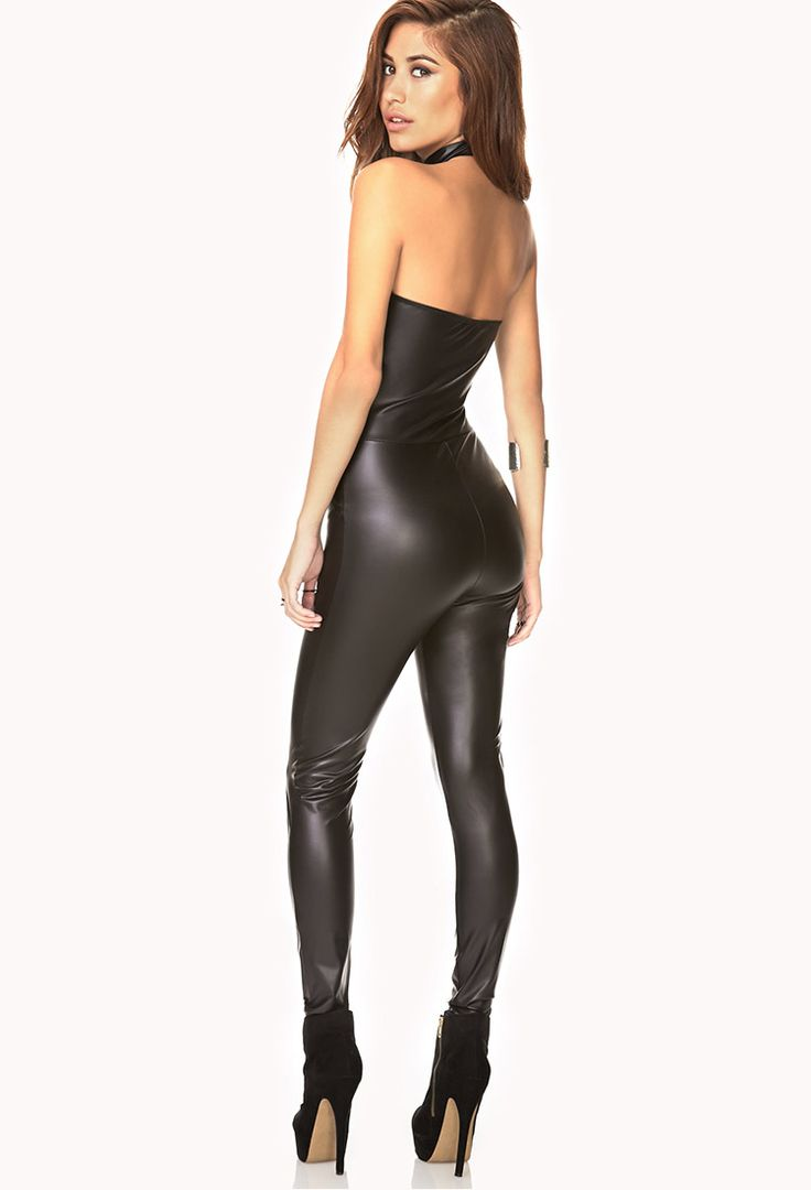 Striking Faux Leather Jumpsuit Forever21 2000090583