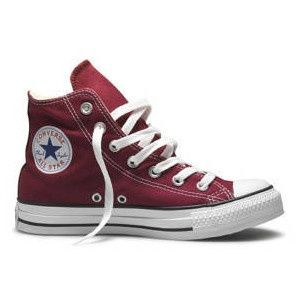 Maroon Converse high-top sneakers. Really time for a replacement pair for me...