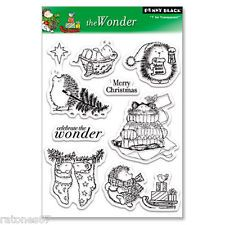 New Penny Black THE WONDER Clear Stamps Cat Mice Hedgehog Christmas Tree Merry