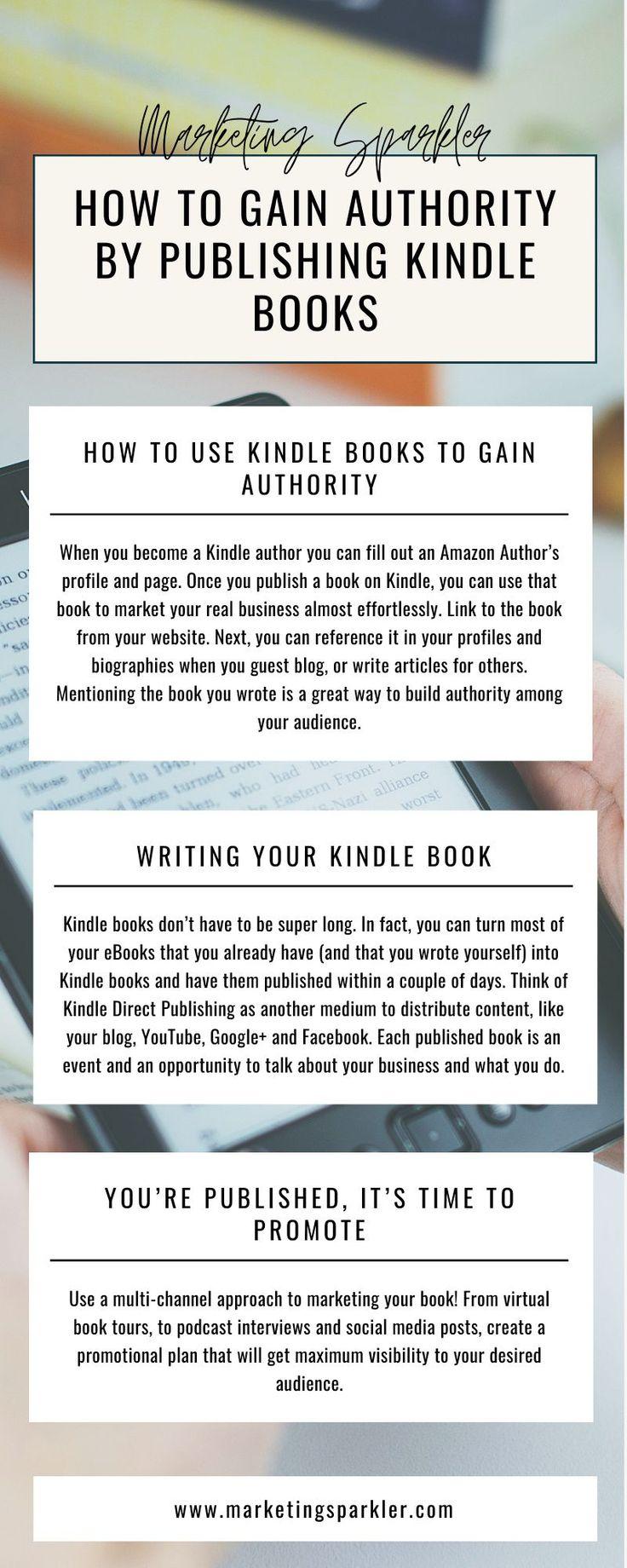 How To Gain Authority By Publishing Kindle Books I Marketing Sparkler Kindle Author Infographic Marketing Book Publishing