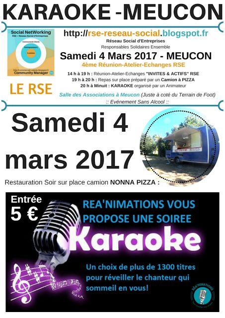 """MEUCON - VANNES NORD OUEST - MORBIHAN - BRETAGNE SUD  (( http://rse-reseau-social.blogspot.fr ))  Réseau Social d'Entreprises  Responsables Solidaires Ensemble  LE RSE Samedi 4 Mars 2017 - MEUCON 4ème Réunion-Atelier-Echanges RSE  14 h à 19 h : Réunion-Atelier-Echanges """"INVITES & ACTIFS"""" RSE 19 h à 20 h : Repas sur place préparé par un Camion à PIZZA 20 h à Minuit : KARAOKE organisé par un Animateur   Salle des Associations à Meucon (Juste à coté du Terrain de Foot)"""